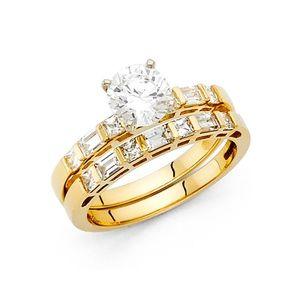 Jewelry - 14k Yellow Gold 2CT Engagement Wedding Ring 2pc